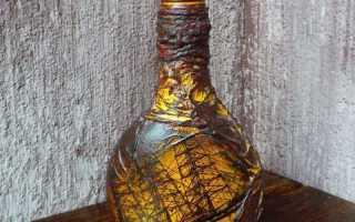 Декупаж бутылок колготками и идеи декора своими руками