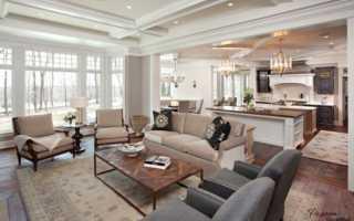 Дизайн кухни столовой гостиной в частном доме
