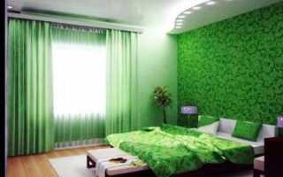 Зеленые обои в интерьере