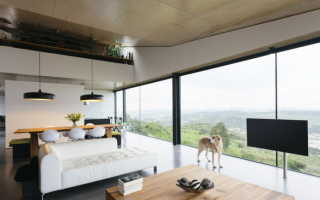 Интерьер с панорамными окнами